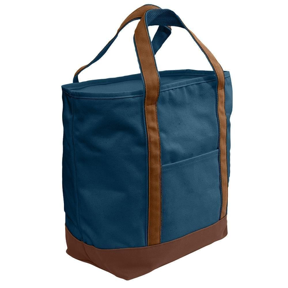 USA Made Heavy Canvas XL Beach Totes, Navy-Brown, 7001216-AMS