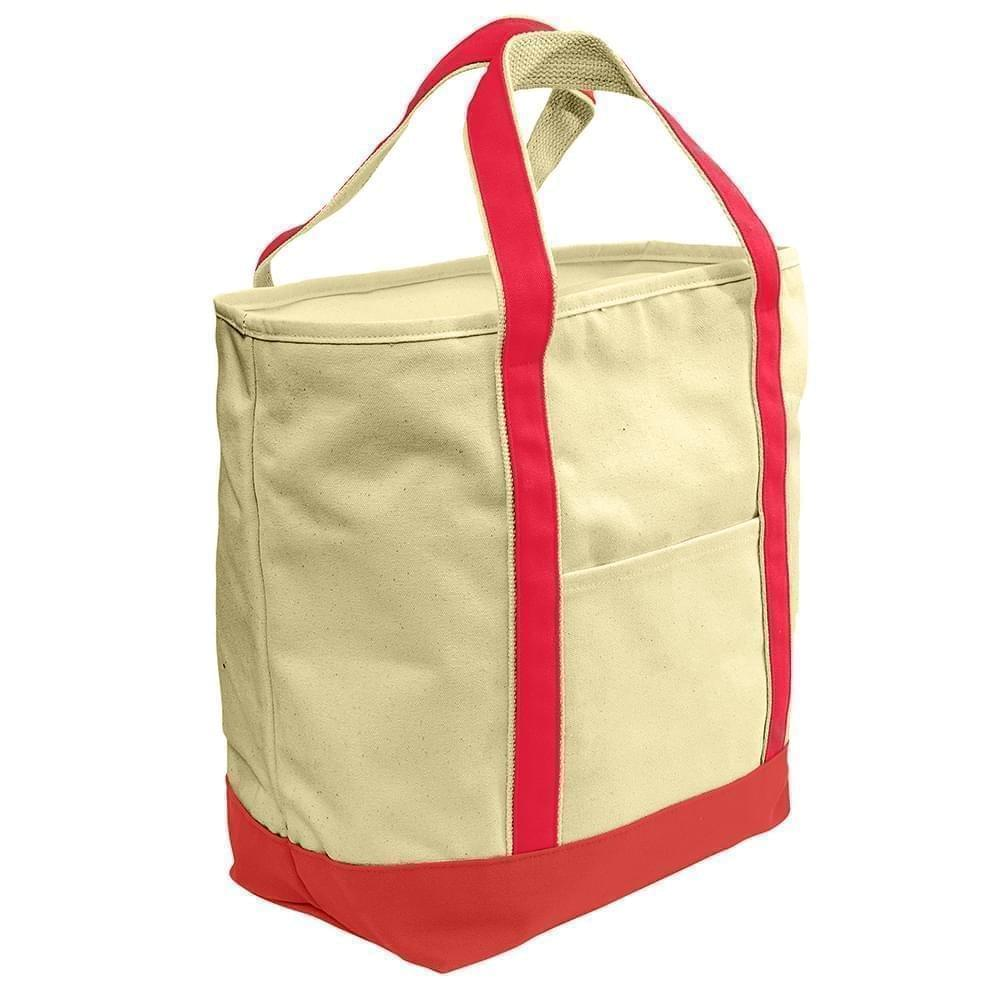 USA Made Heavy Canvas XL Beach Totes, Natural-Red, 7001216-AV2