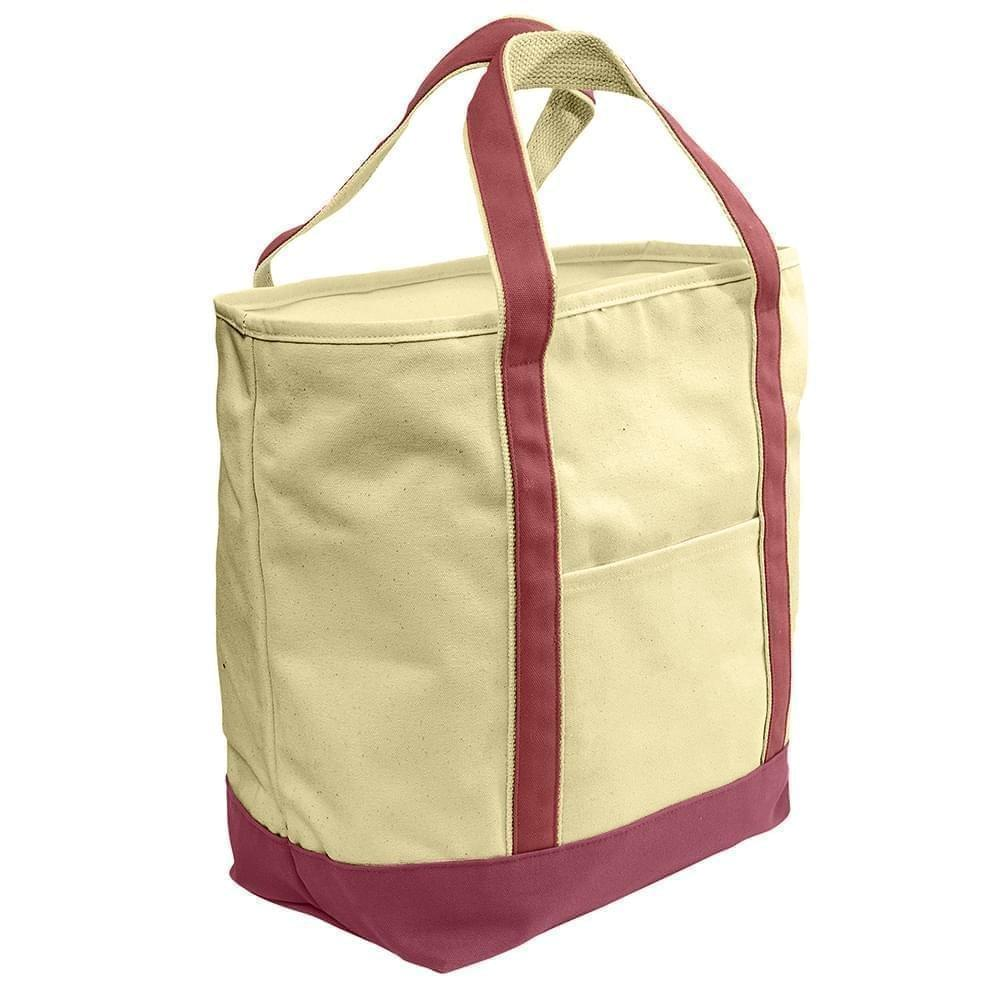 USA Made Heavy Canvas XL Beach Totes, Natural-Burgundy, 7001216-AVE