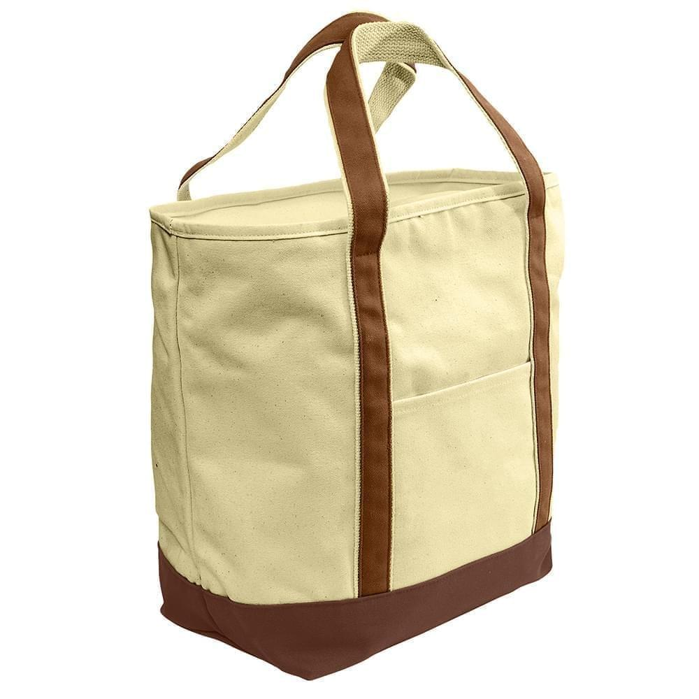 USA Made Heavy Canvas XL Beach Totes, Natural-Brown, 7001216-AVS