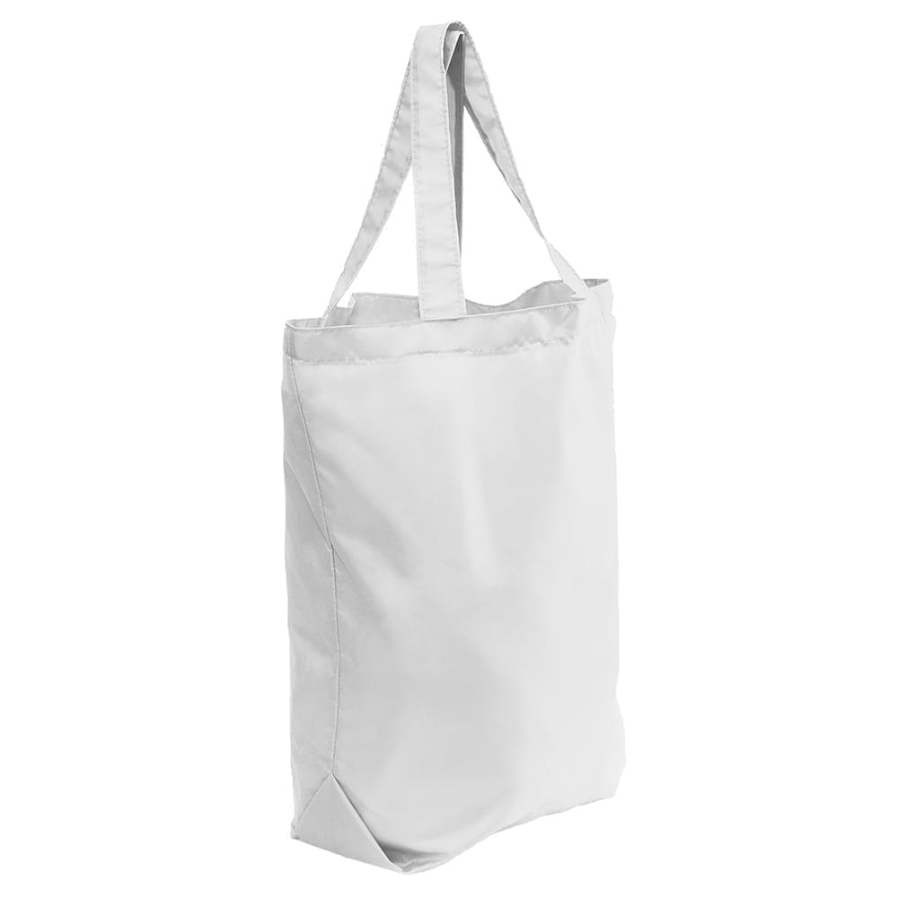 USA Made Nylon Poly Self Handle Totes, White-White, 7001682-A3P