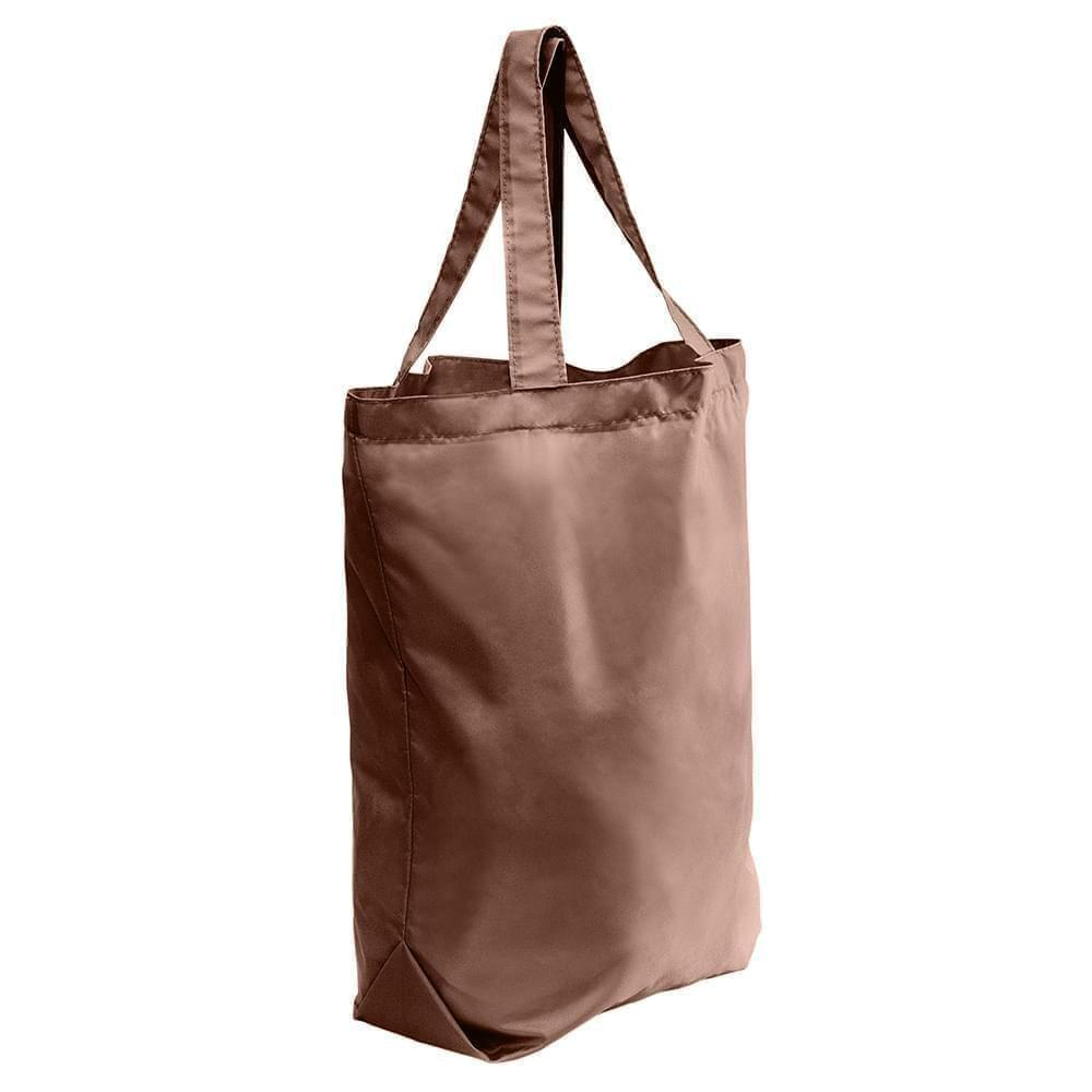 USA Made Nylon Poly Self Handle Totes, Brown-Brown, 7001682-APD