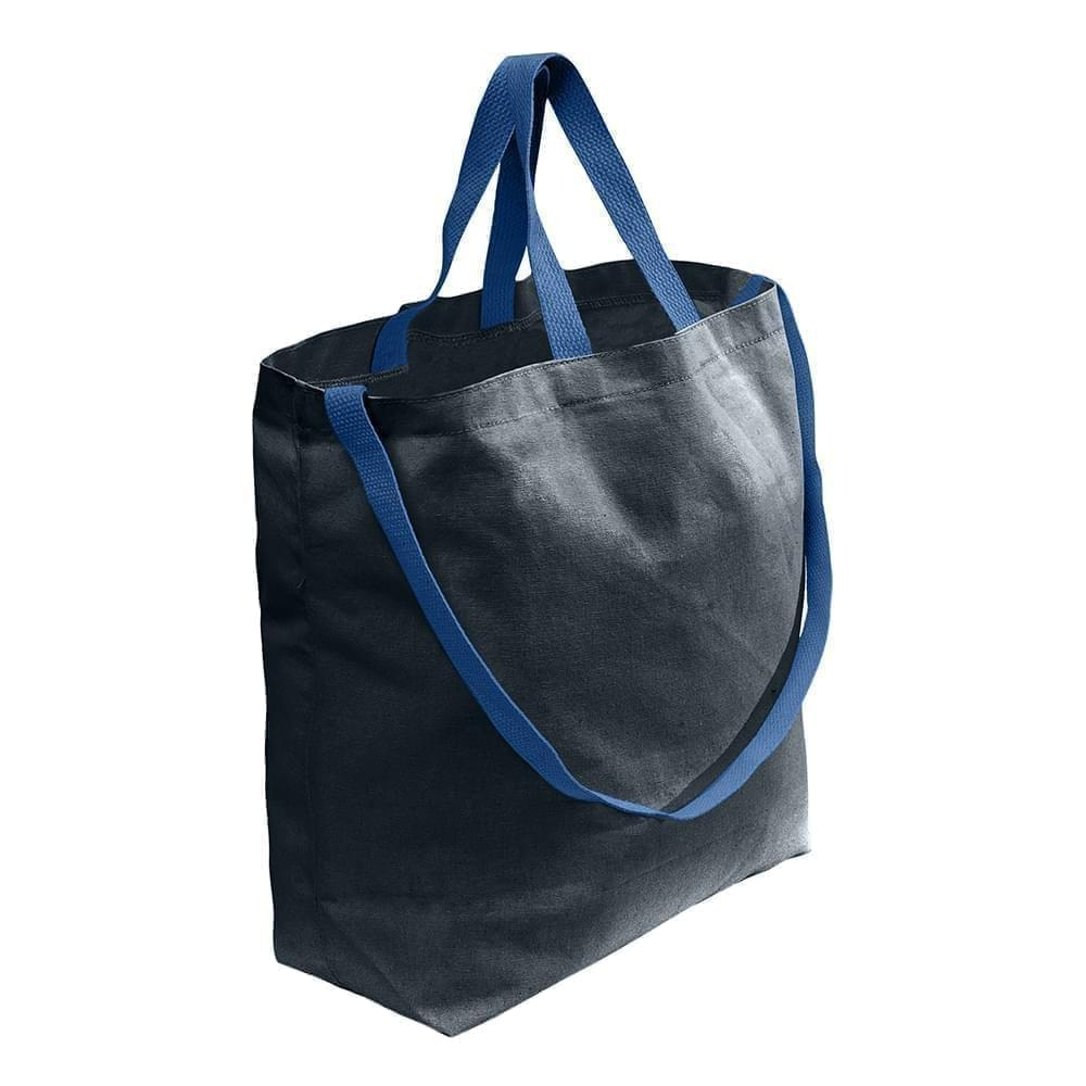 USA Made Duck Canvas Shoulder Carry Totes, Black-Navy, 7001794-AHZ