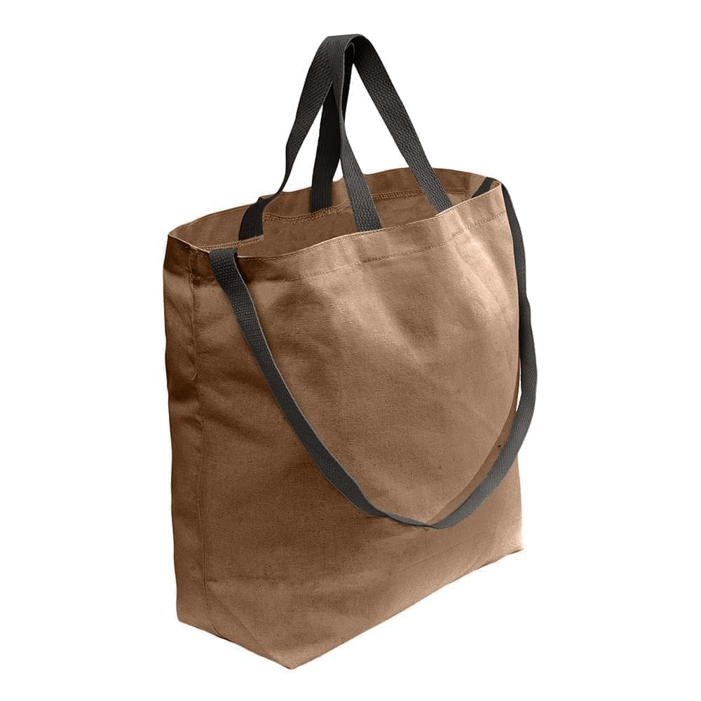 USA Made Duck Canvas Shoulder Carry Totes, Khaki-Black, 7001794-AJR