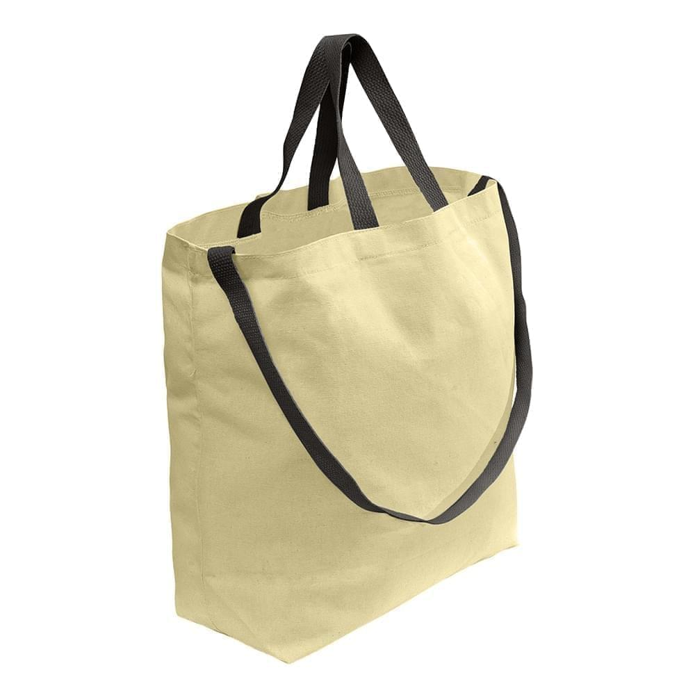 USA Made Duck Canvas Shoulder Carry Totes, Natural-Black, 7001794-AKR