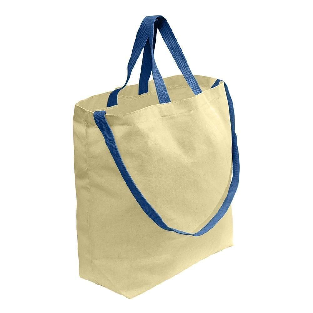 USA Made Duck Canvas Shoulder Carry Totes, Natural-Navy, 7001794-AKZ