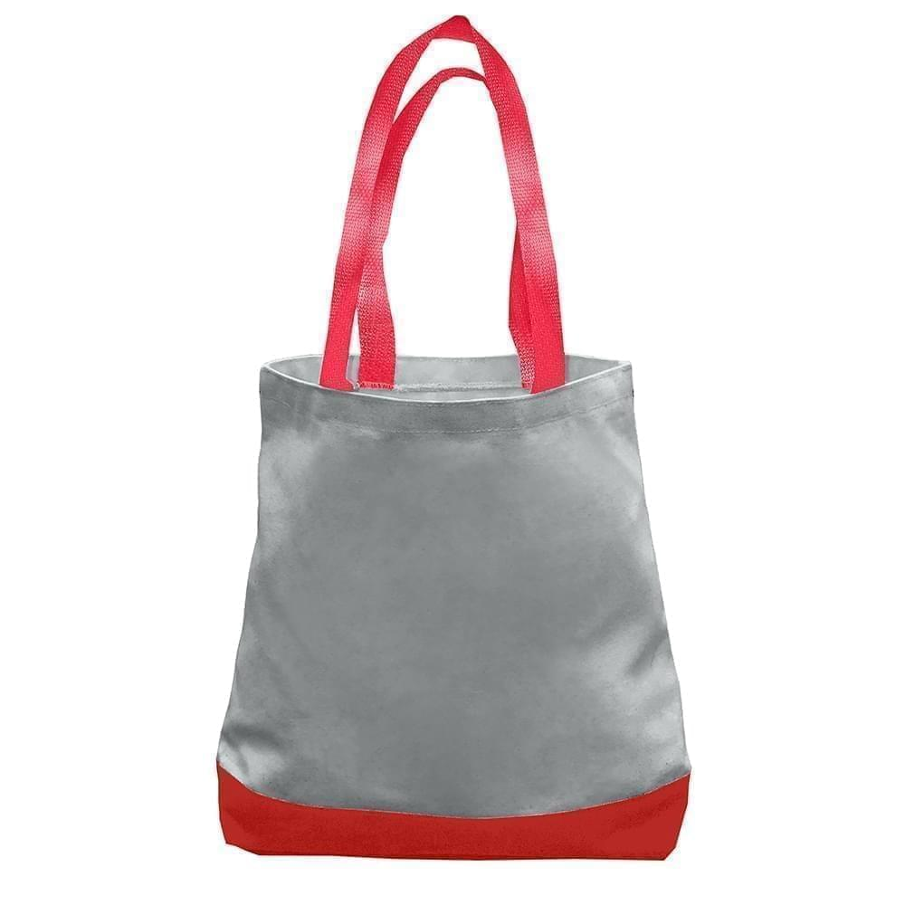 USA Made Nylon Poly Promo Boat Totes, Gray-Red, 7011000-A12
