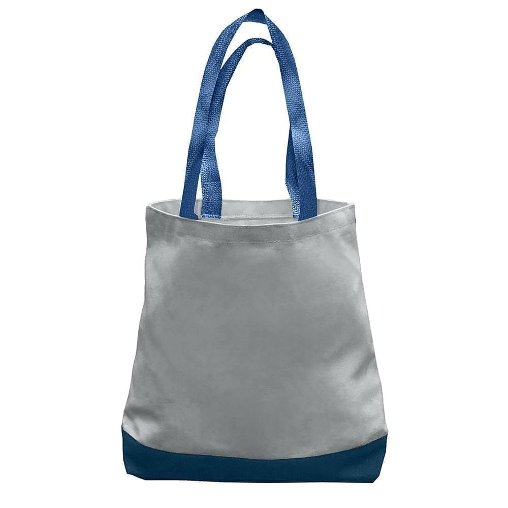 USA Made Nylon Poly Promo Boat Totes, Gray-Navy, 7011000-A1Z