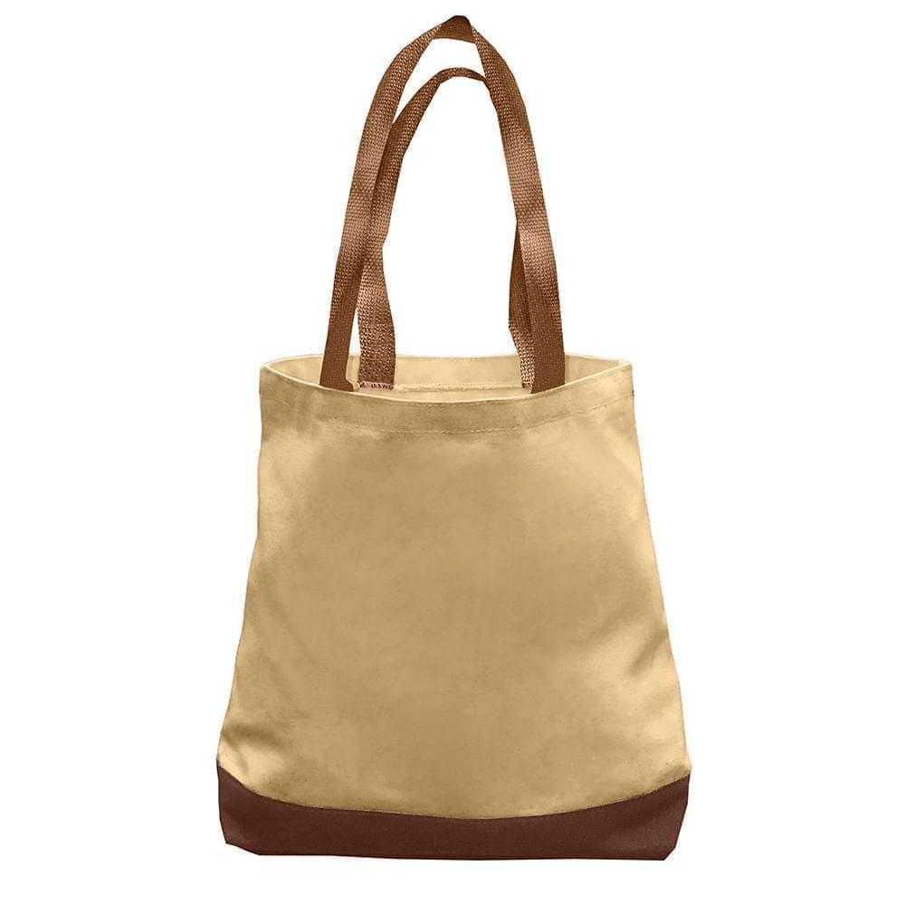 USA Made Nylon Poly Promo Boat Totes, Khaki-Brown, 7011000-A2S