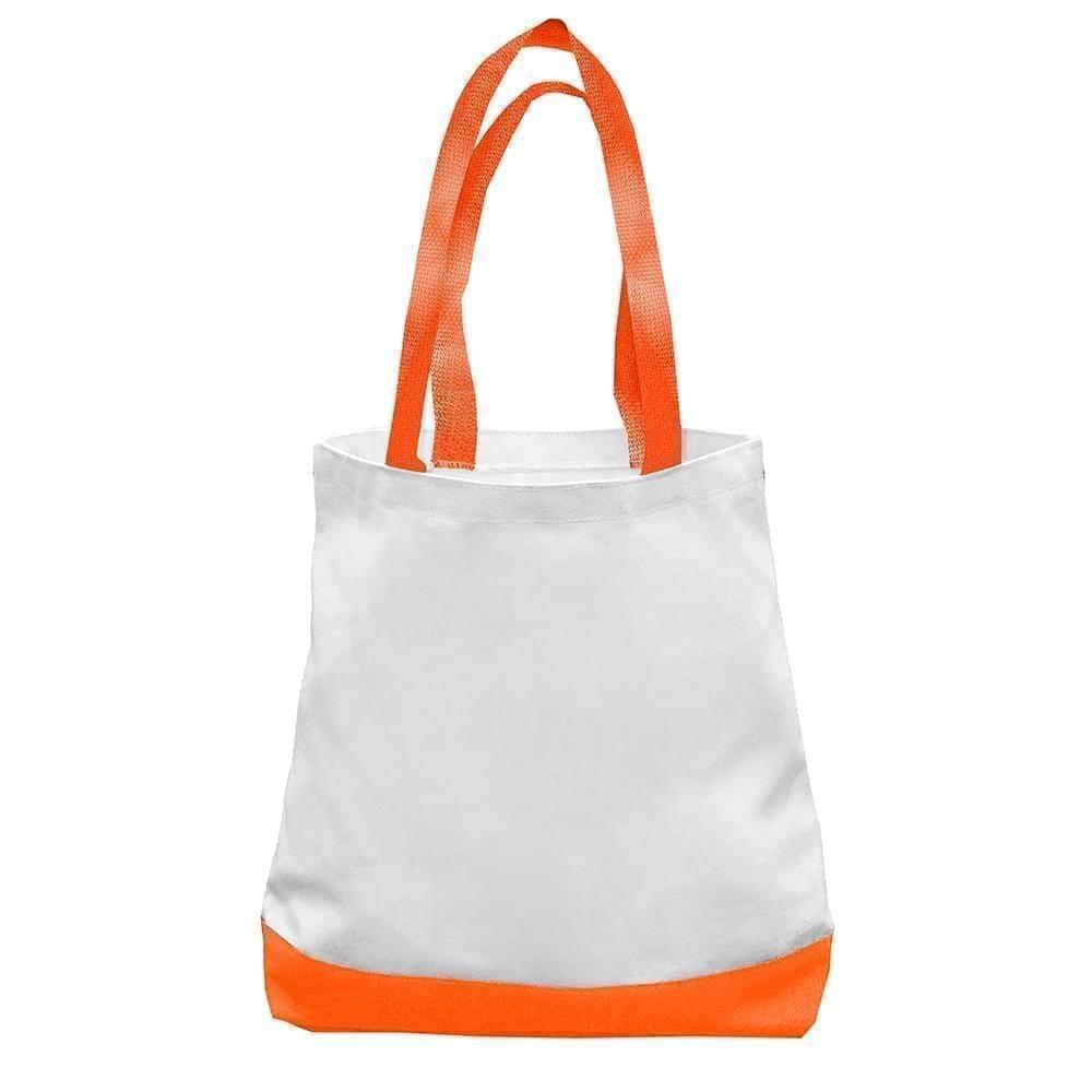 USA Made Nylon Poly Promo Boat Totes, White-Orange, 7011000-A30
