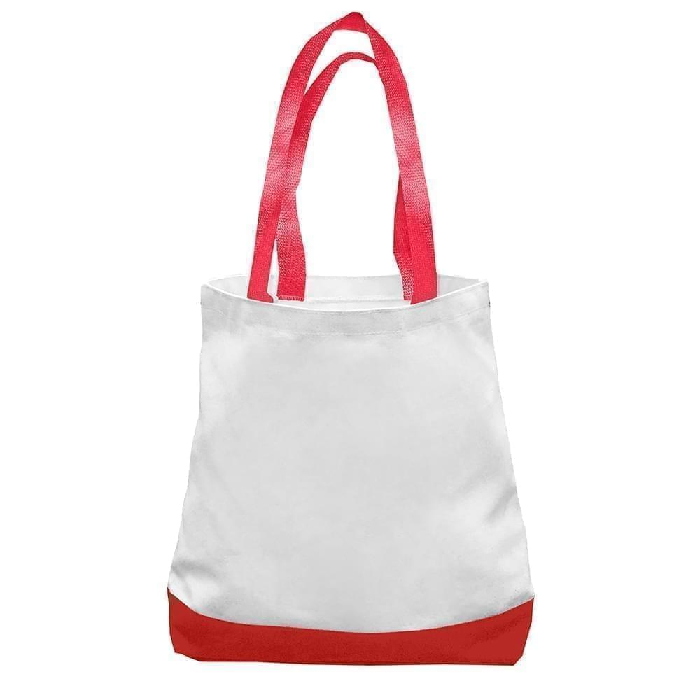 USA Made Nylon Poly Promo Boat Totes, White-Red, 7011000-A32