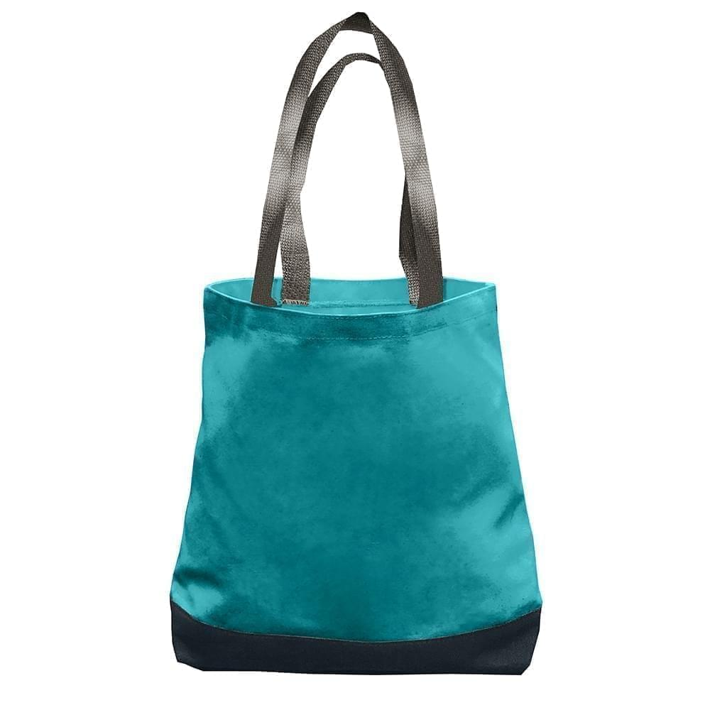 USA Made Nylon Poly Promo Boat Totes, Turquoise-Black, 7011000-A9R