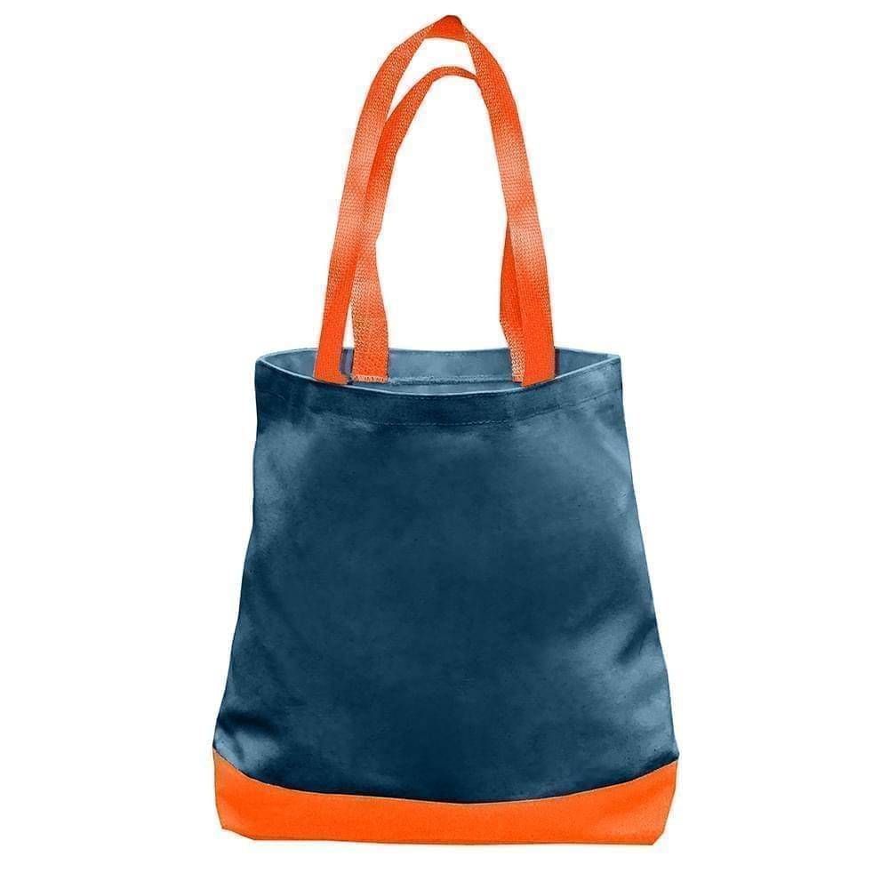 USA Made Duck Canvas Promo Boat Totes, Navy-Orange, 7011000-AC0