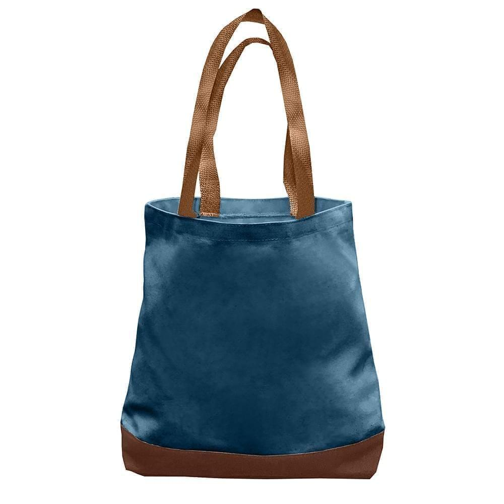 USA Made Duck Canvas Promo Boat Totes, Navy-Brown, 7011000-ACS