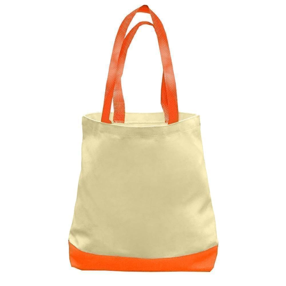 USA Made Duck Canvas Promo Boat Totes, Natural-Orange, 7011000-AK0