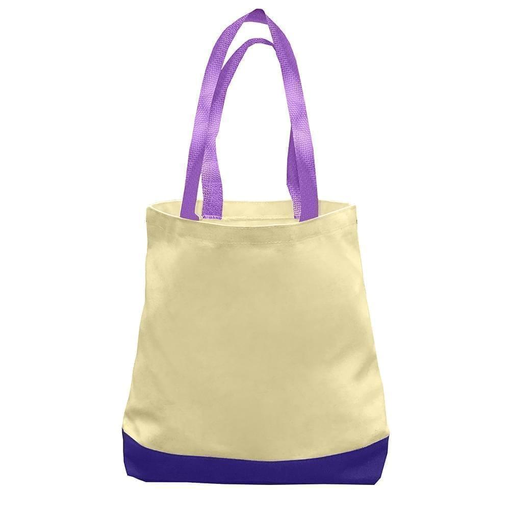 USA Made Duck Canvas Promo Boat Totes, Natural-Purple, 7011000-AK1