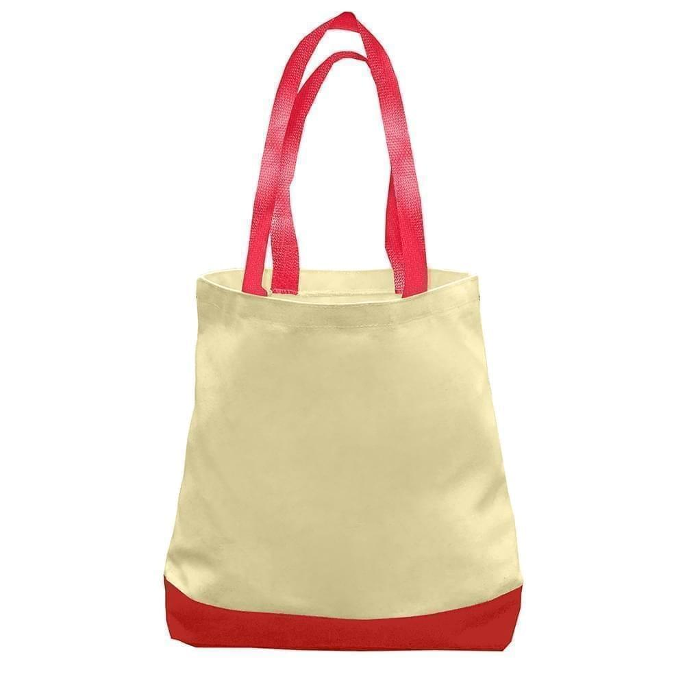 USA Made Duck Canvas Promo Boat Totes, Natural-Red, 7011000-AK2