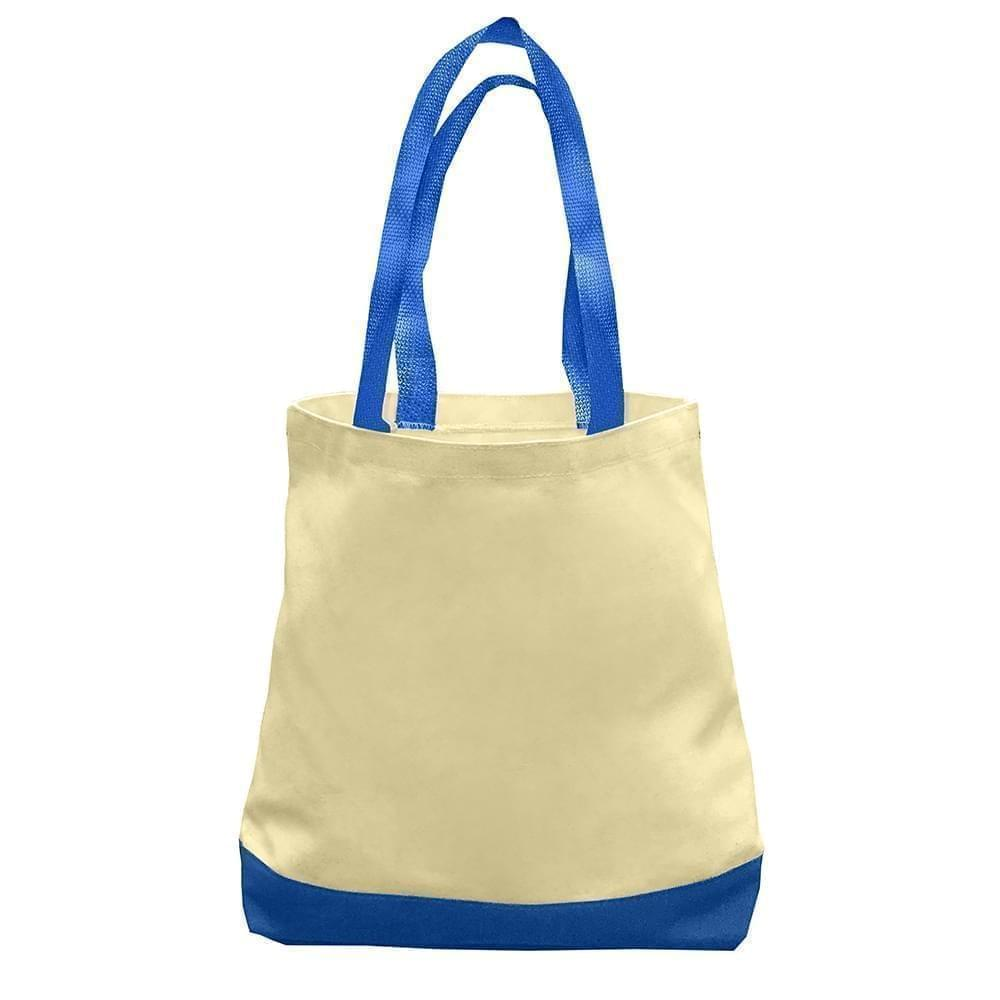 USA Made Duck Canvas Promo Boat Totes, Natural-Royal, 7011000-AK3