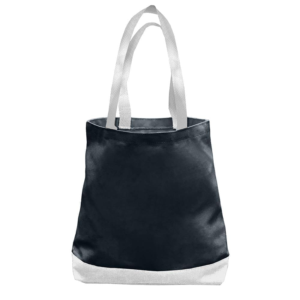 USA Made Nylon Poly Promo Boat Totes, Black-White, 7011000-AO4