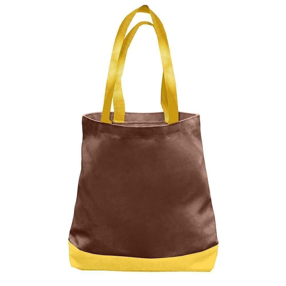 USA Made Nylon Poly Promo Boat Totes, Brown-Gold, 7011000-AP5