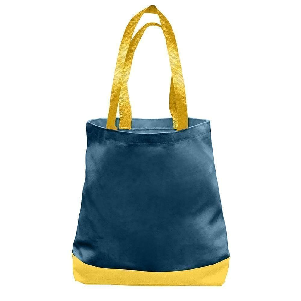 USA Made Nylon Poly Promo Boat Totes, Navy-Gold, 7011000-AW5