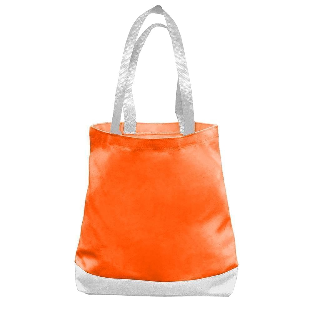 USA Made Nylon Poly Promo Boat Totes, Orange-White, 7011000-AX4