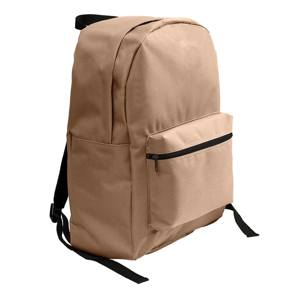 USA Made Nylon Poly Standard Backpacks, Khaki-Khaki, 8000-A2X