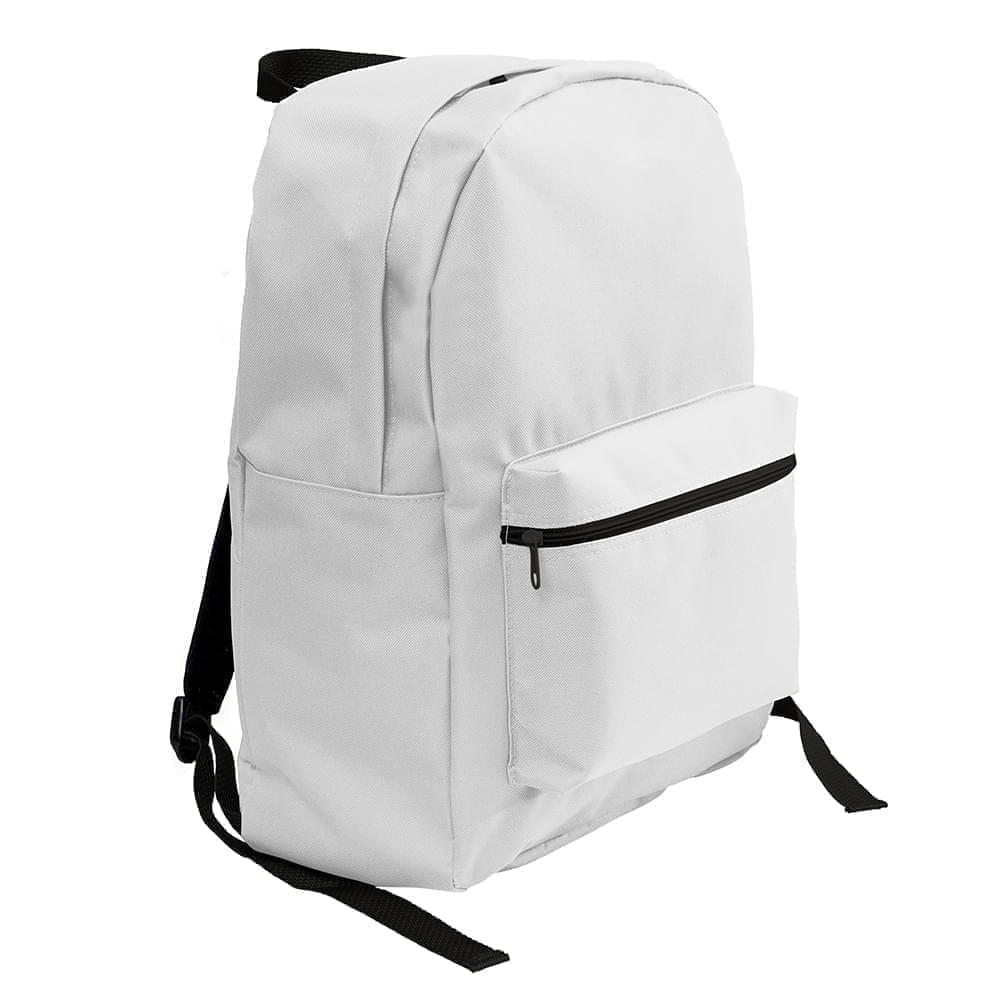USA Made Nylon Poly Standard Backpacks, White-White, 8000-A3P