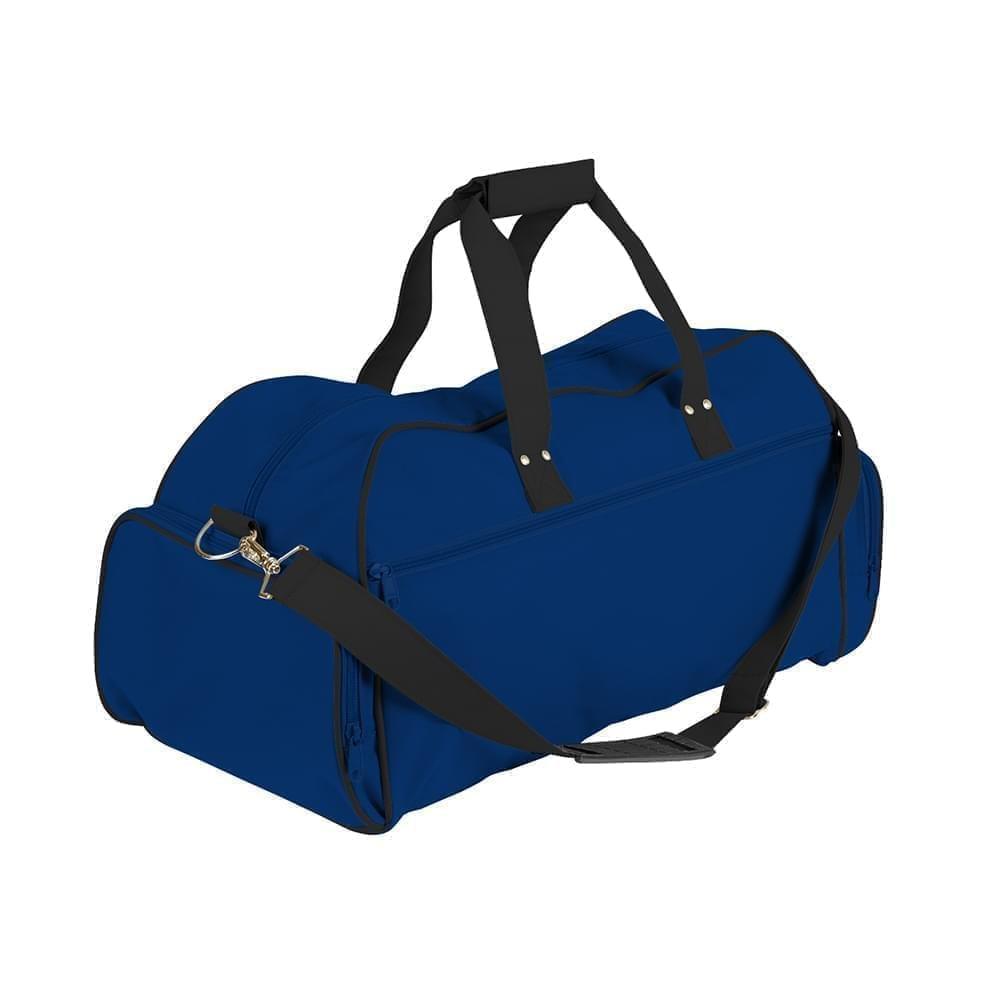 USA Made Nylon Poly Weekender Duffles, Royal Blue-Black, 8001017-A0C