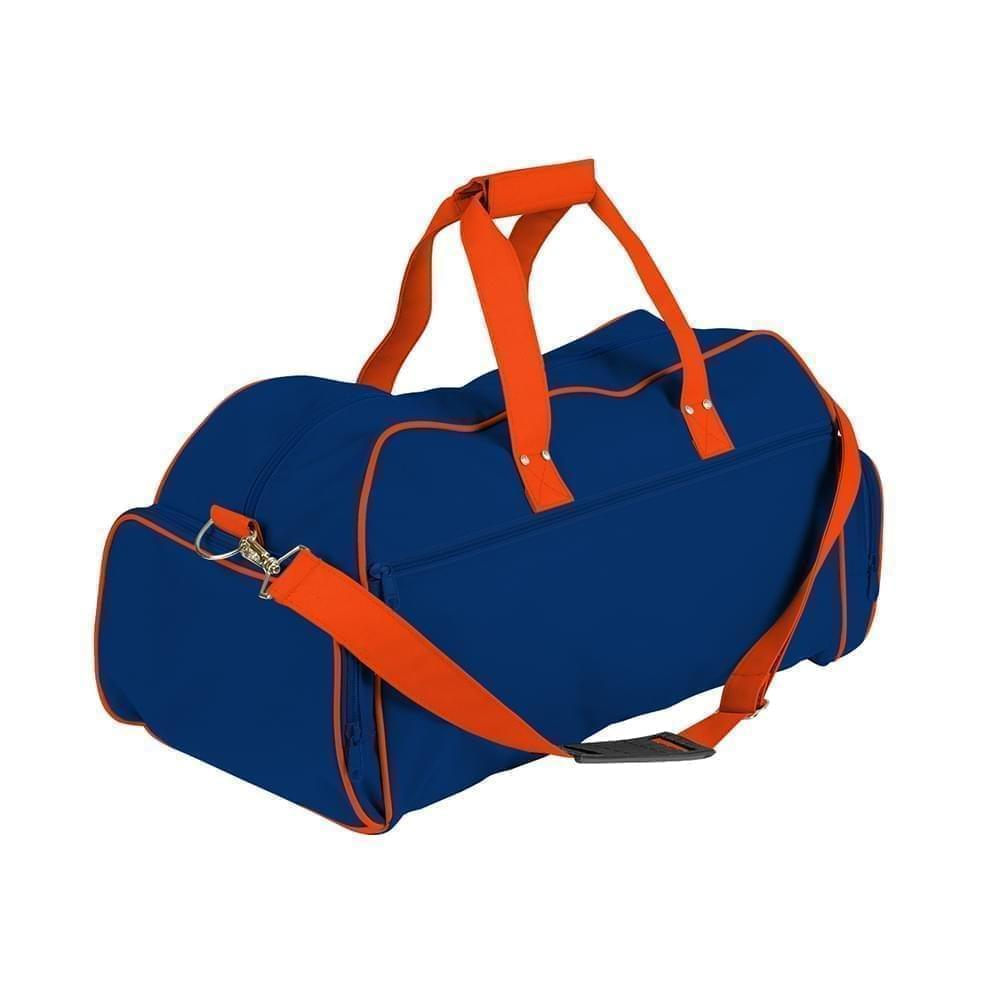 USA Made Nylon Poly Weekender Duffles, Royal Blue-Orange, 8001017-A0J