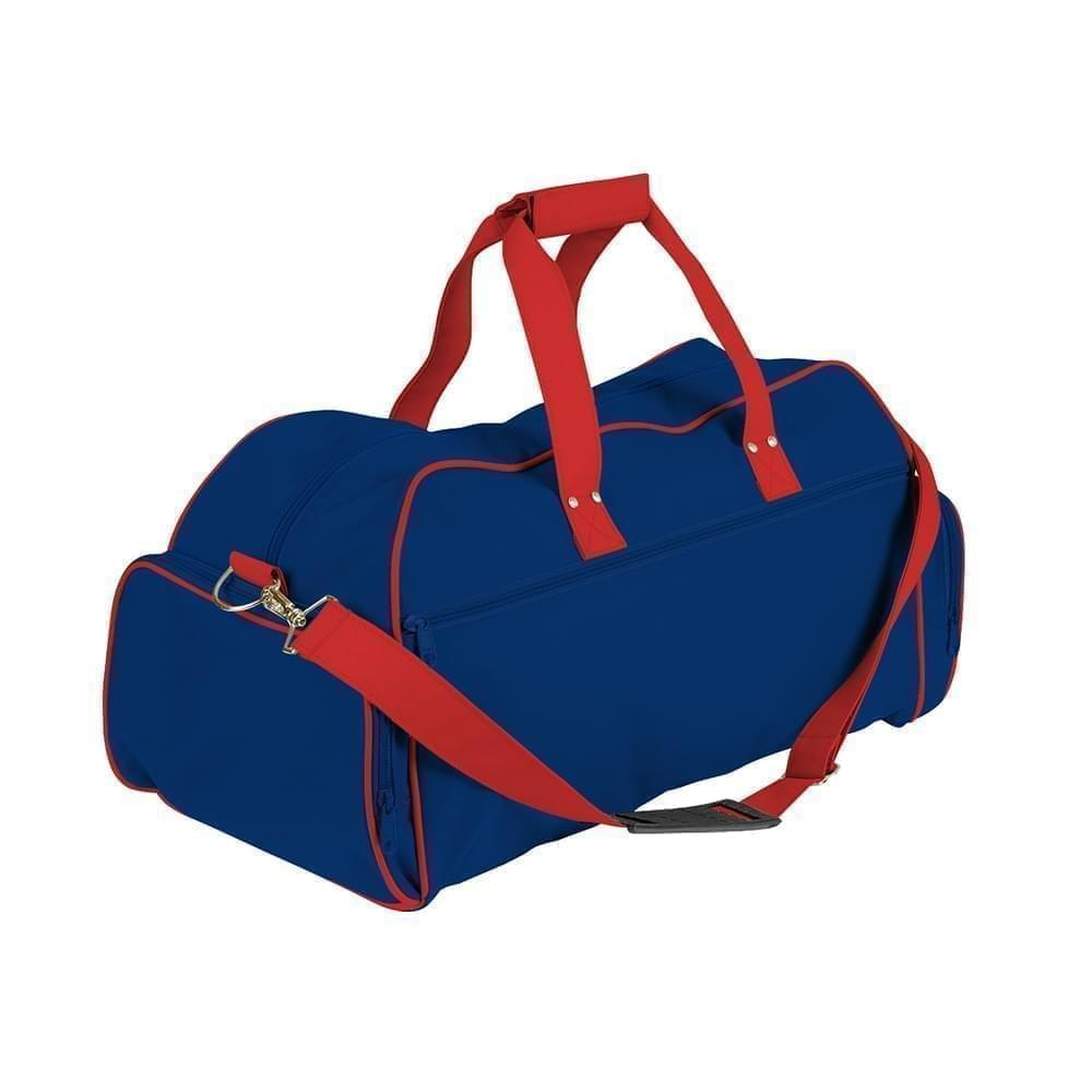 USA Made Nylon Poly Weekender Duffles, Royal Blue-Red, 8001017-A0L