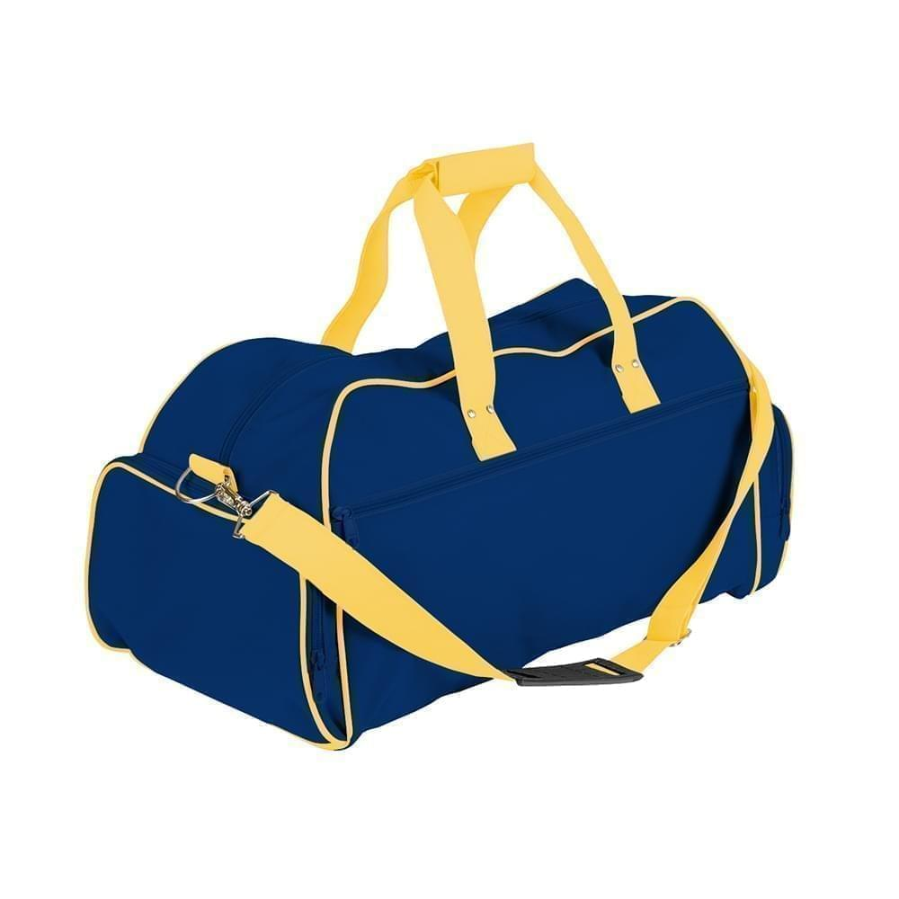USA Made Nylon Poly Weekender Duffles, Royal Blue-Gold, 8001017-A0Q