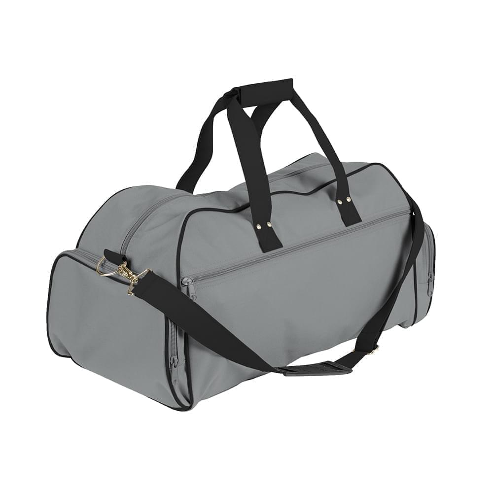 USA Made Nylon Poly Weekender Duffles, Grey-Black, 8001017-A1C