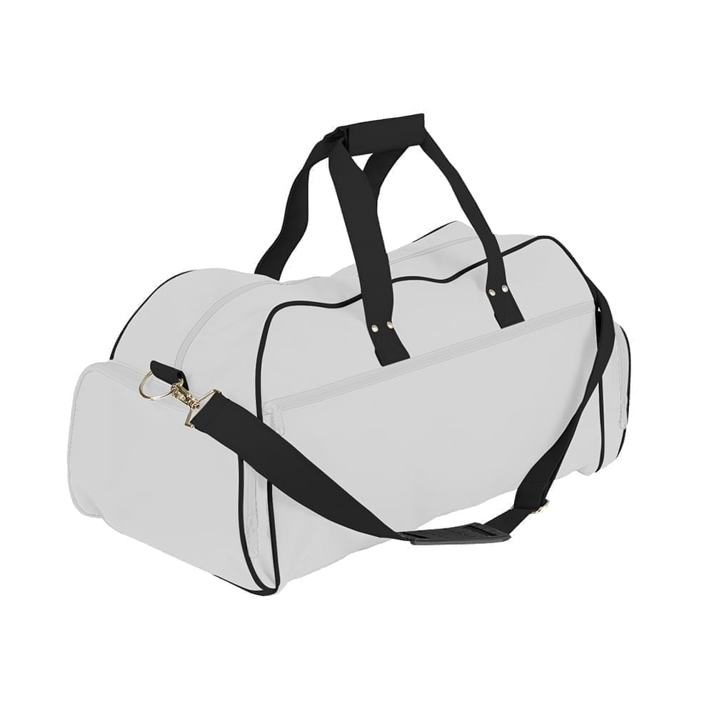 USA Made Nylon Poly Weekender Duffles, White-Black, 8001017-A3C
