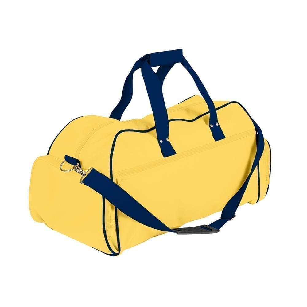 USA Made Nylon Poly Weekender Duffles, Gold-Navy, 8001017-A4I