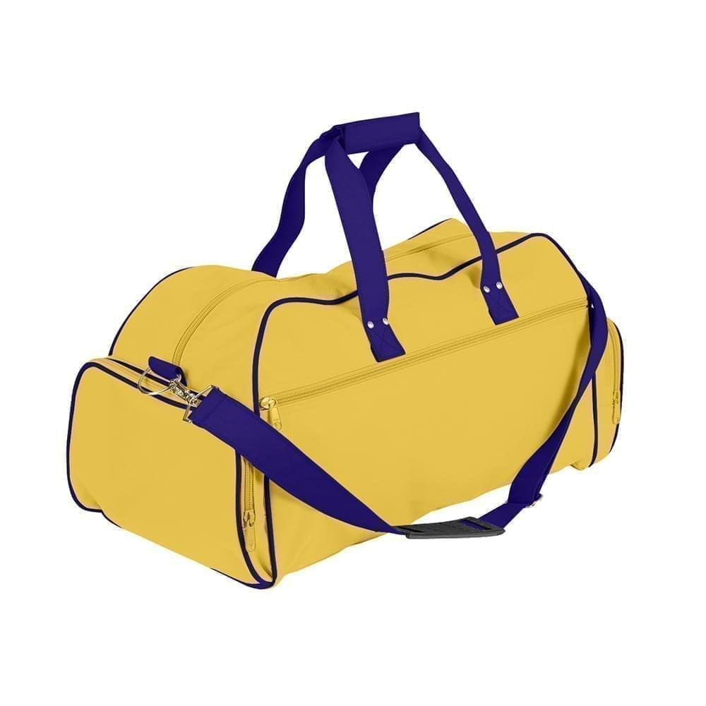 USA Made Nylon Poly Weekender Duffles, Gold-Purple, 8001017-A4K