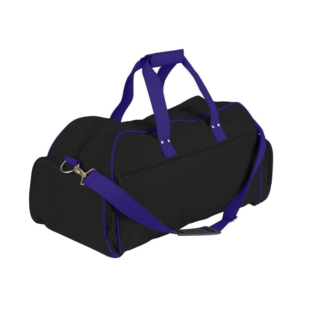 USA Made Nylon Poly Weekender Duffles, Black-Purple, 8001017-AOK