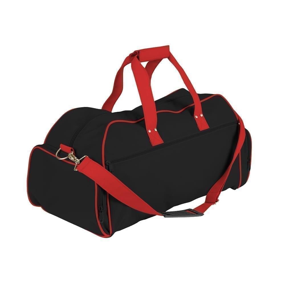 USA Made Nylon Poly Weekender Duffles, Black-Red, 8001017-AOL