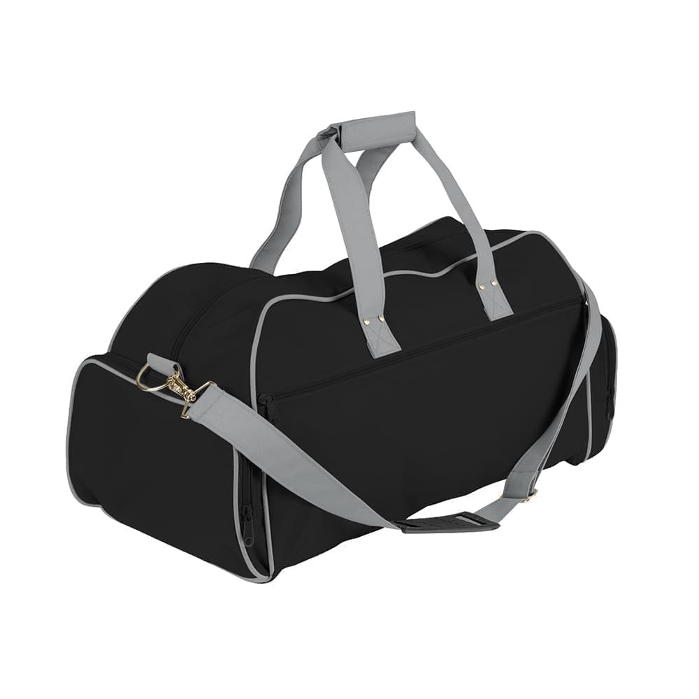 USA Made Nylon Poly Weekender Duffles, Black-Grey, 8001017-AON
