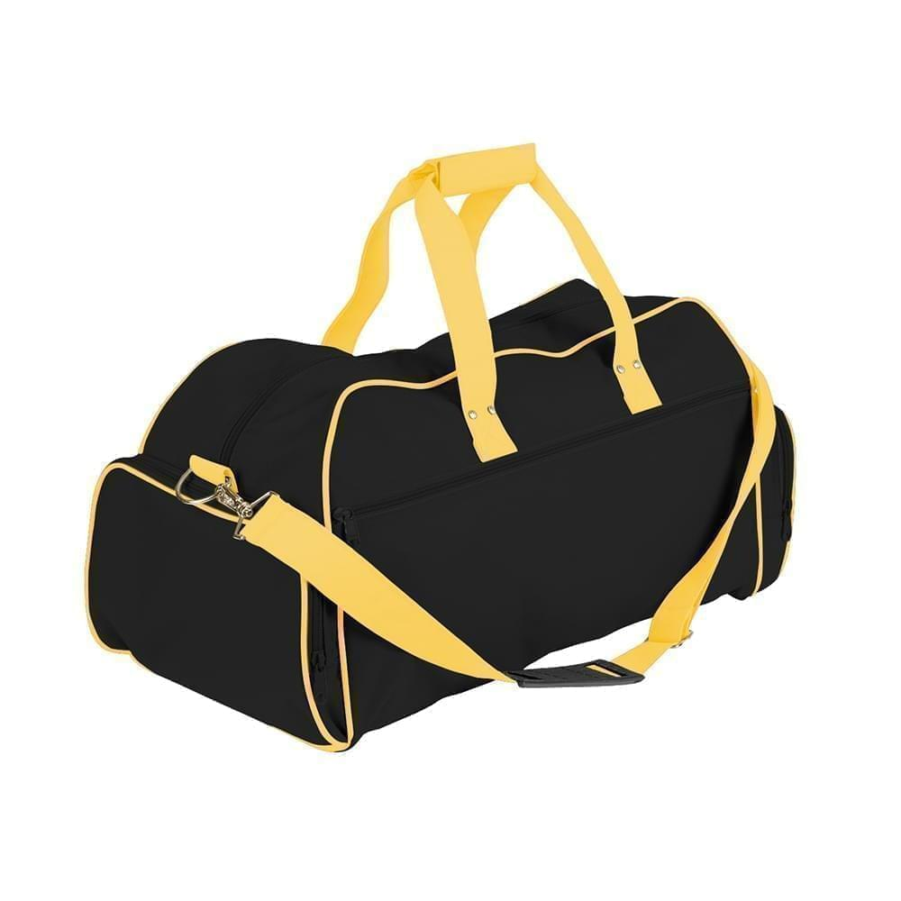 USA Made Nylon Poly Weekender Duffles, Black-Gold, 8001017-AOQ