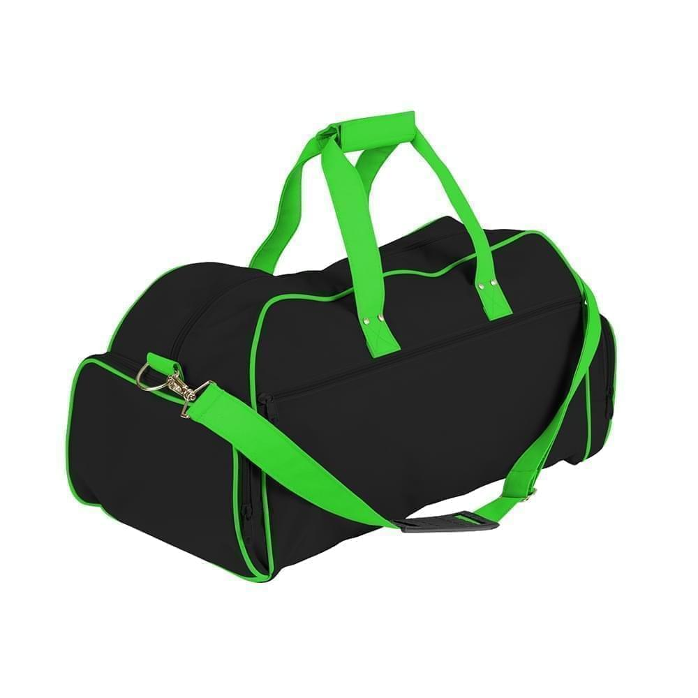USA Made Nylon Poly Weekender Duffles, Black-Lime, 8001017-AOY