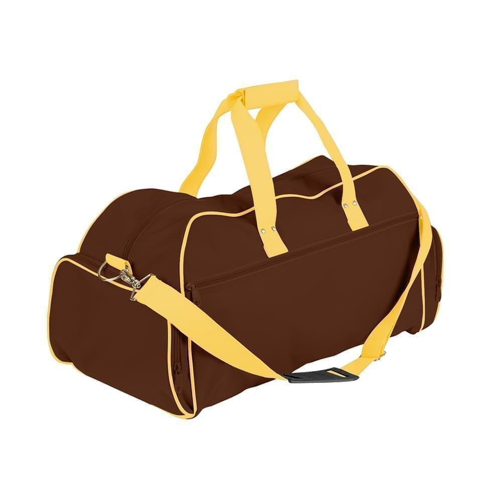 USA Made Nylon Poly Weekender Duffles, Brown-Gold, 8001017-APQ