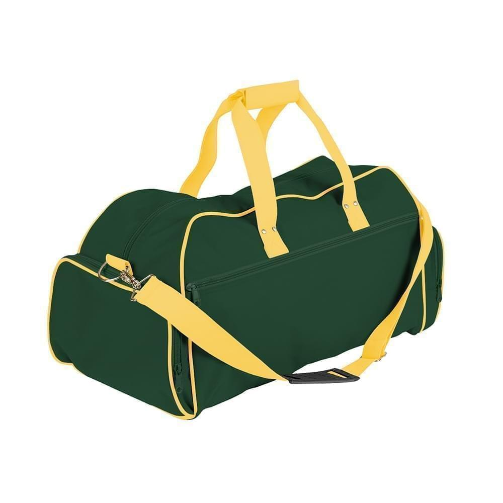 USA Made Nylon Poly Weekender Duffles, Hunter Green-Gold, 8001017-ASQ