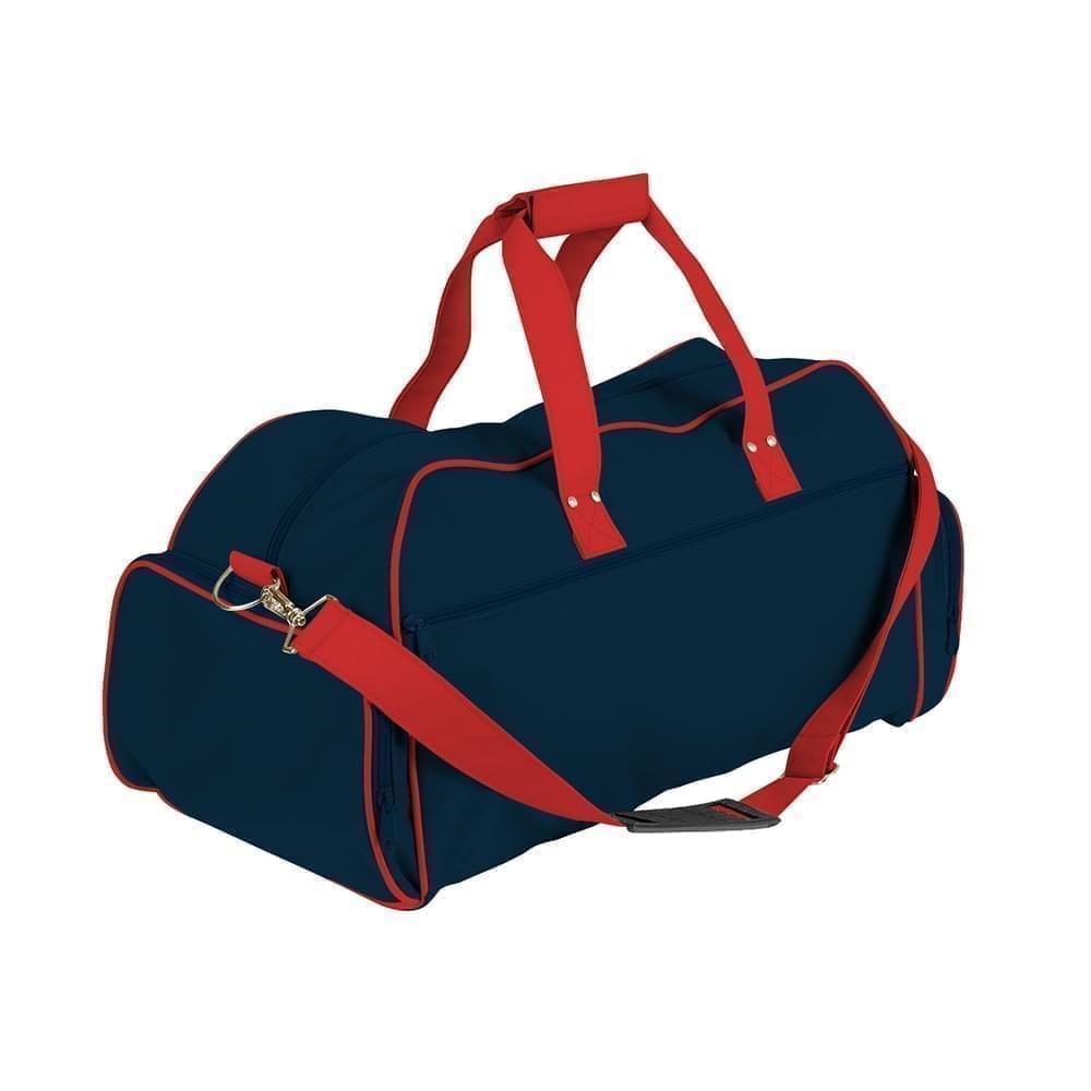 USA Made Nylon Poly Weekender Duffles, Navy-Red, 8001017-AWL