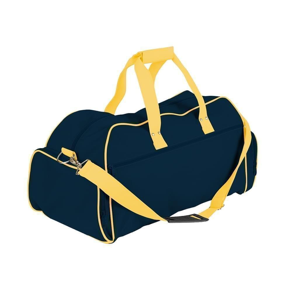 USA Made Nylon Poly Weekender Duffles, Navy-Gold, 8001017-AWQ