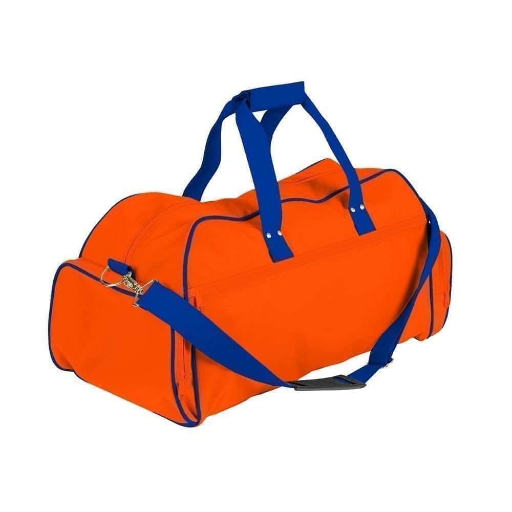 USA Made Nylon Poly Weekender Duffles, Orange-Royal Blue, 8001017-AXM
