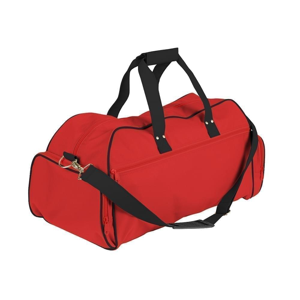 USA Made Nylon Poly Weekender Duffles, Red-Black, 8001017-AZC