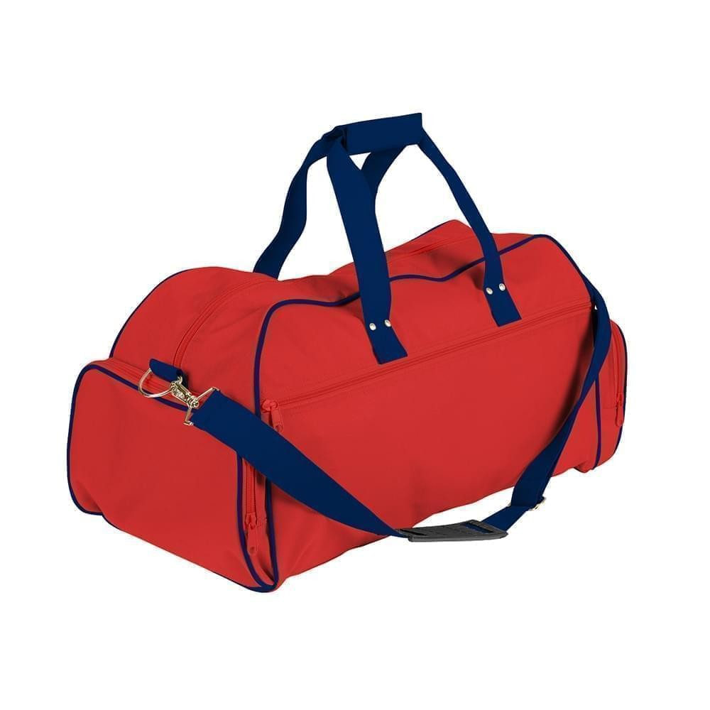 USA Made Nylon Poly Weekender Duffles, Red-Navy, 8001017-AZI