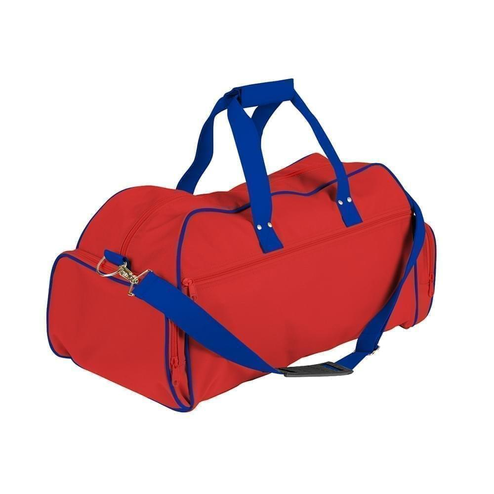 USA Made Nylon Poly Weekender Duffles, Red-Royal Blue, 8001017-AZM