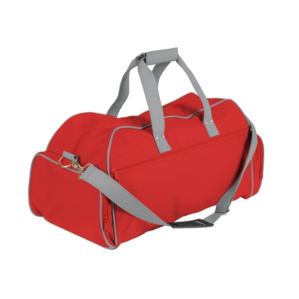 USA Made Nylon Poly Weekender Duffles, Red-Grey, 8001017-AZN